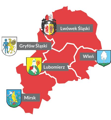 Mapa gmin powiatu lwóweckiego