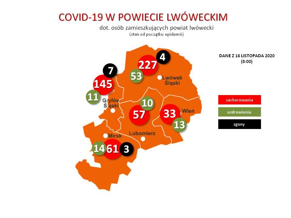 CAVID-19. Mapa powiatu lwóweckiego