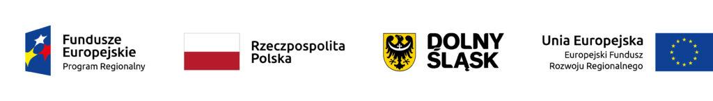 Logotypy UE, Dolnego Śląska, RP oraz Europejskiego Funduszu Rozwoju Regionalnego