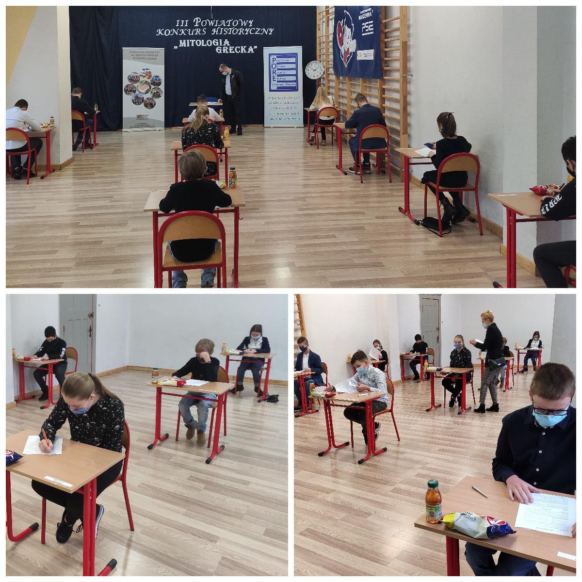Kolaż 3 zdjęć na których uczniowie piszą test konkursowy