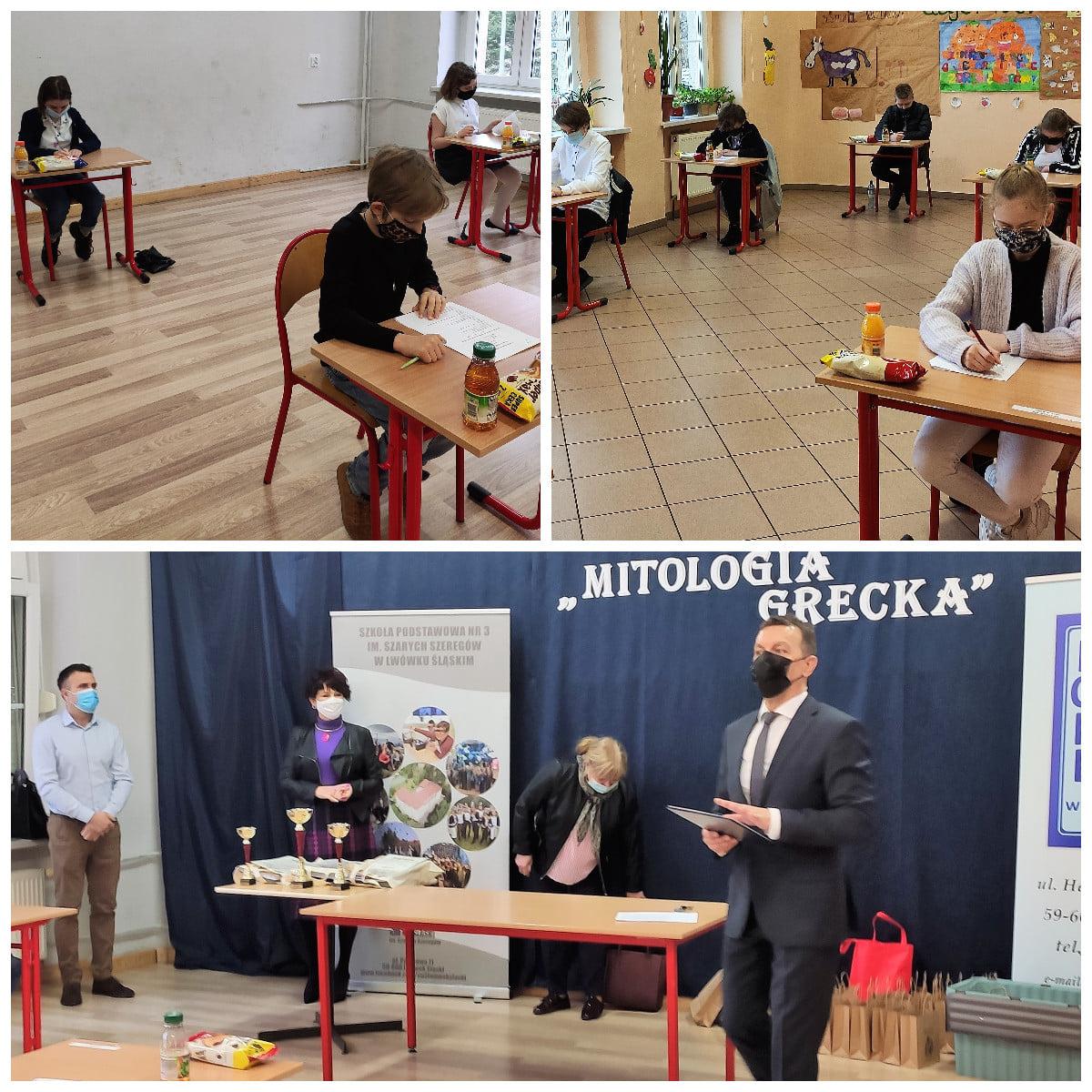 kolaż 3 zdjęć z piszącymi test uczniami oraz pokazane ogłoszenie wyników przez dyrektora szkoły podstawowej Andrzej Ryngwelskiego