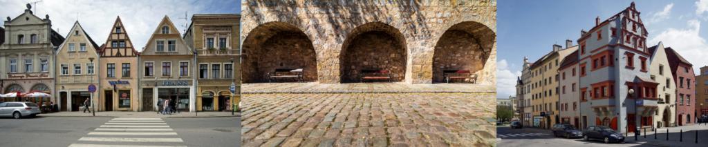 3 zdjęcia architektury miast powiatu lwóweckiego - kamieniczki w Gryfowie Śląskim i Lwówku Śląskim oraz fragment murów obronnych w Lwówku Śląskim