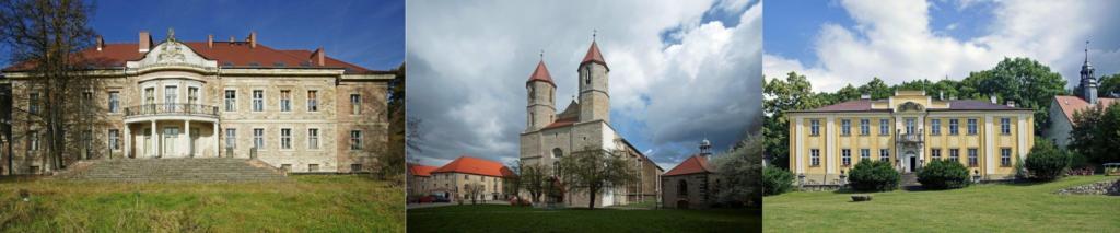 3 zdjęcia zabytków architektonicznych - Pałac w Maciejowcu, Pałac Lenno we Wleniu, kościół WNMP w Lwówku Śląskim
