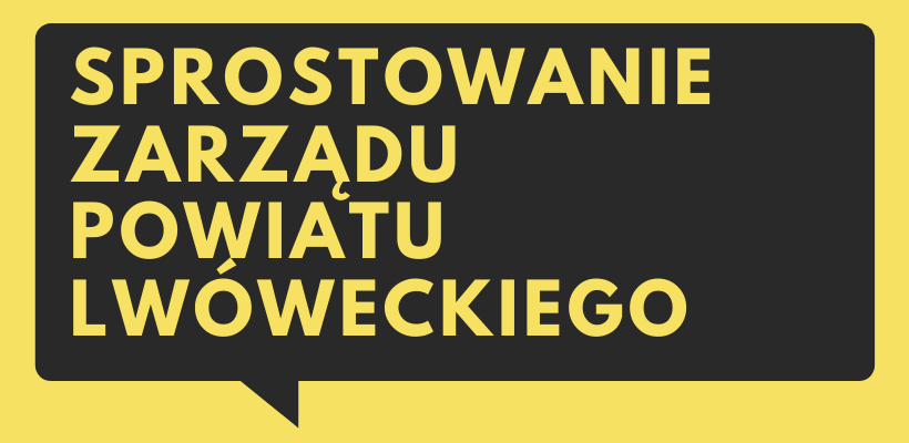 baner ilustracyjny z napisem Sprostowanie Zarządu Powiatu Lwóweckiego
