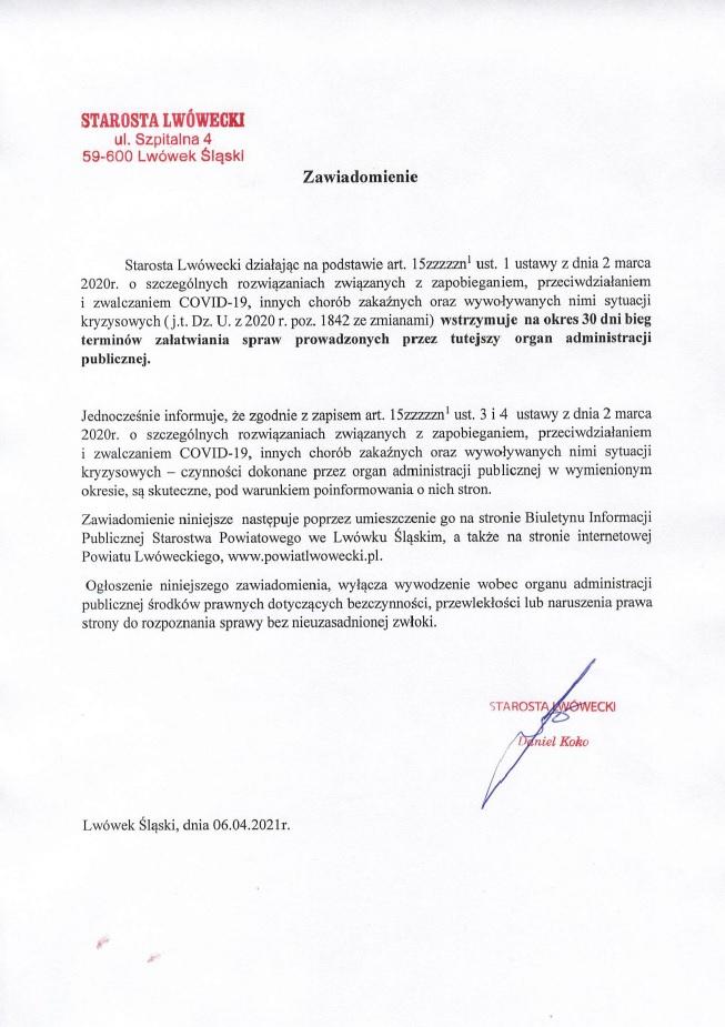 zawiadomienie Starosty w sprawie zawieszenia 30 dniowego terminu