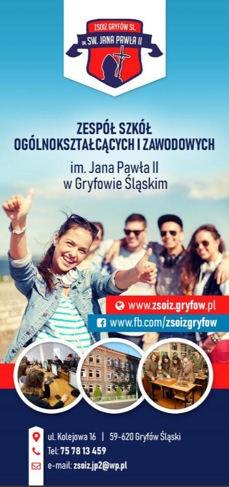 Ulotka promocyjna Zespołu Szkół Ogólnokształcących i Zawodowych w Gryfowie Śląskim