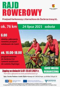 plakat do wydarzenia - para ludzi na rowerach, data: 24.07.2021, trasa ok. 76 km