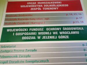 Tablica informacyjna WFOŚiGW - oddział w Jeleniej Górze