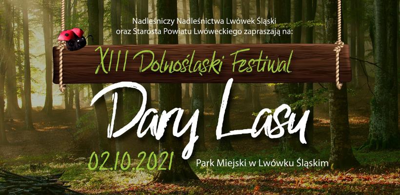 baner - fragment plakatu festiwalowego z napisem XIII Dolnośląski Festiwal Dary Lasu
