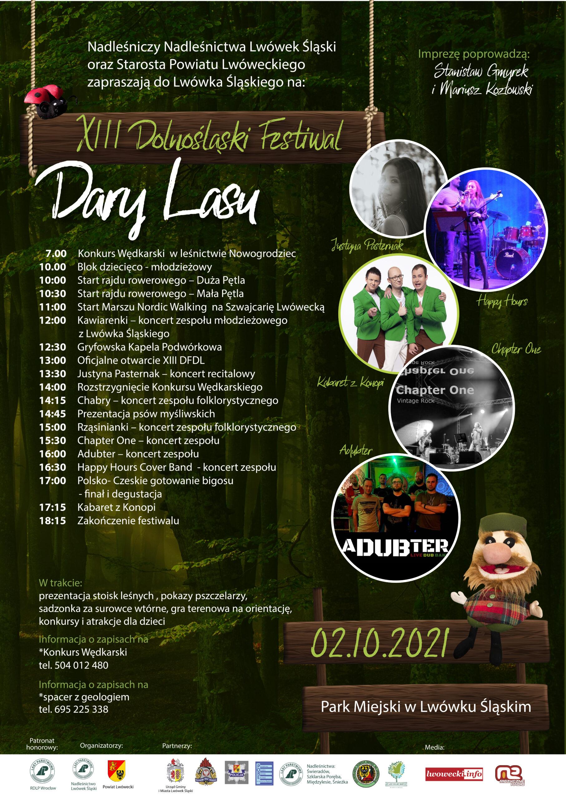 Plakat XIII Dolnośląskiego festiwalu Dary Lasu - z programem