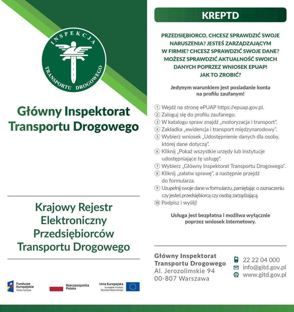 ulotkę informacyjną skierowaną do przedsiębiorców w zakresie weryfikacji danych w Krajowym Rejestrze Elektronicznym Przedsiębiorców Transportu Drogowego (KREPTD