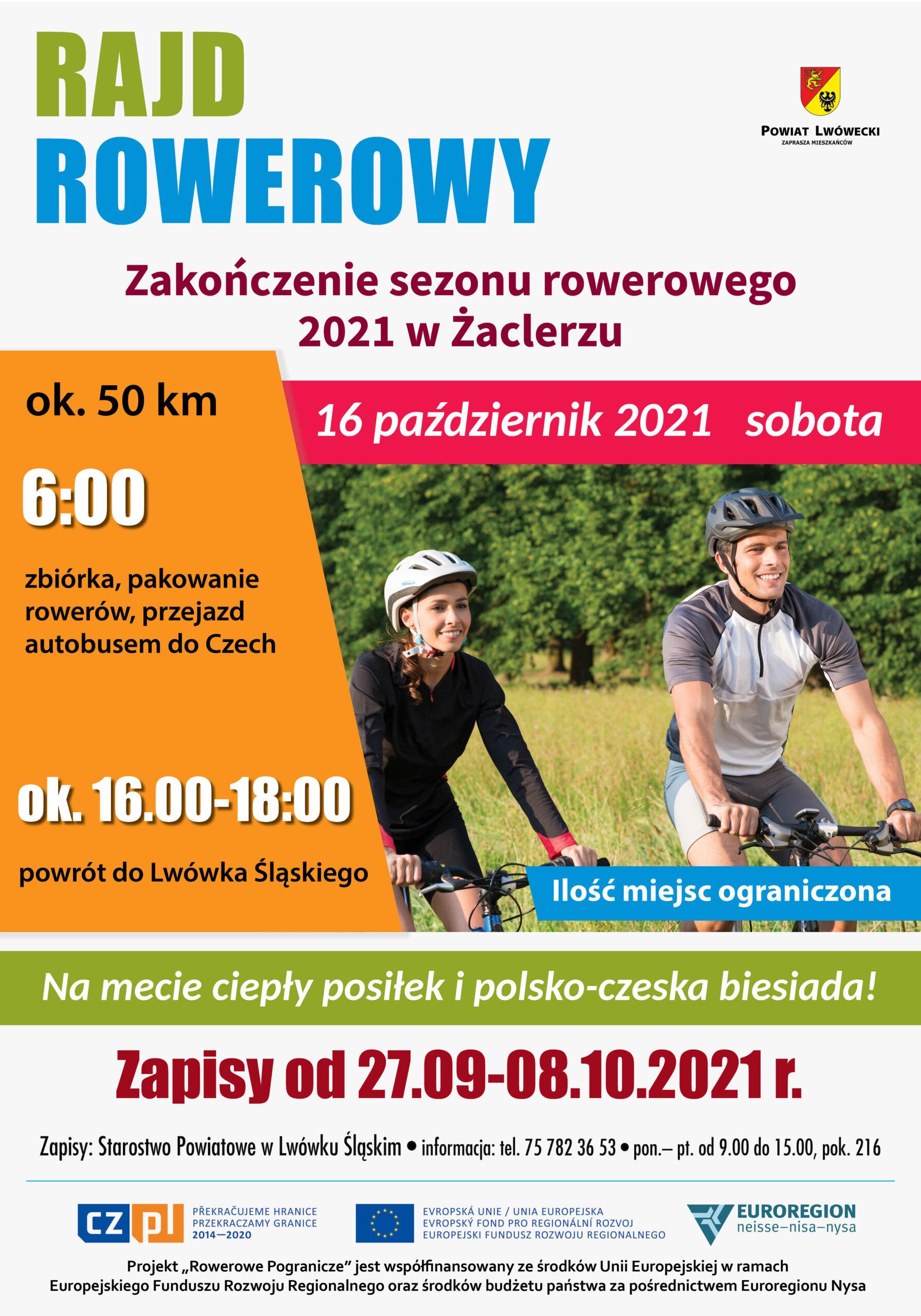 Plakat informacyjny o rajdzie rowerowym z podaną datą i godziną wyjazdu. Na plakacie fragment zdjęcia z dwójką rowerzystów